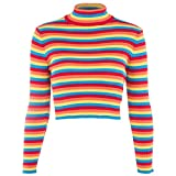 Huaxix Womens Autumn Long Sleeve Turtleneck Sweater Colorful Rainbow Stripes Short Crop Tops Bodycon Ribbed Knitted Basic Pullover Jumper