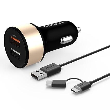 Quick Charge 3.0 USB Typ C Kfz Ladegerät [QC 3.0 + Qsmart Port 5V 2.4A] iVoler 30W 2 Port USB Auto Ladegerät mit 2 in 1 Micro USB & Type C Kabel (1m)