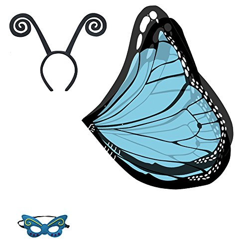 Baby Song Monarch Butterfly Wings Costume with Headband&Mask Blue Butterfly Wings for Girls WA-6