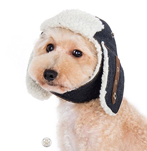 Shearling Denim Trapper Hat with Ear Flaps and Pin for Dogs Size (XS, Denim Blue)