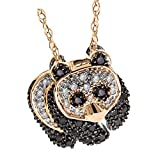 0.25 Carat (ctw) 18k Rose Gold Round Black and White Diamond Ladies Panda Pendant 1/4 CT