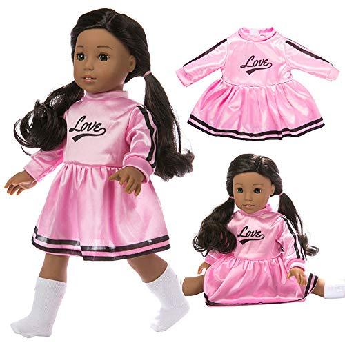 PSFS for 18 Inch American Doll Accessory Girl,Cute Fashion Star Stripe Dress Toy (Pink)