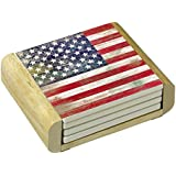 CounterArt Absorbent Coasters in Wooden Holder, Americana, Set of 4