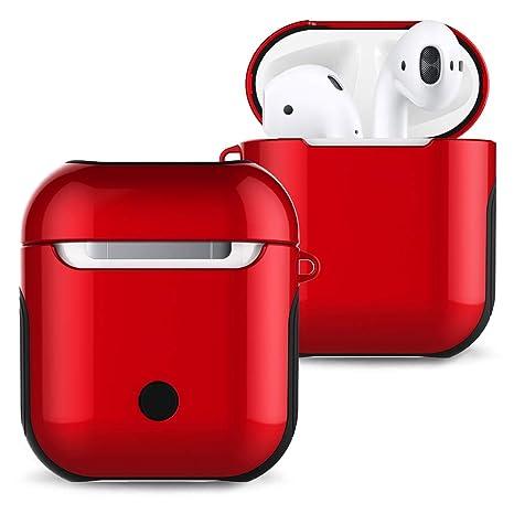 AirPodsケース、エアポッツ ケース、 AirPods1世代/2世代適用カバー、シリコンショックプルーフ  ハードシェルアンチスクラッチ二重層ハイブリッドデザインAirPodsカバー, Apple AirPods充電器の損傷を防ぐための専用のエアーポッズ  ケース ,赤い色