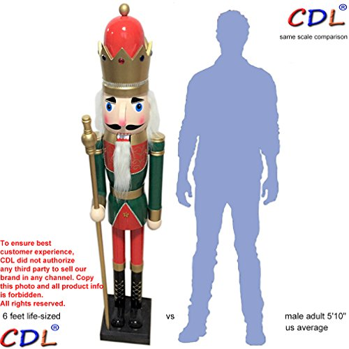 CDL 6ft tall life-size large/giant green Christmas wooden nutcracker king ornament on stand holds golden scepter for indoor outdoor Xmas/event/ceremonies/commercial decoration(6 feet, king green k27)