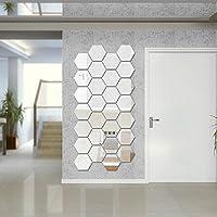 Amaonm® (Pack of 12) Side 6.2cm 3d Silver PVC Mirror Acrylic Geometric Hexago...