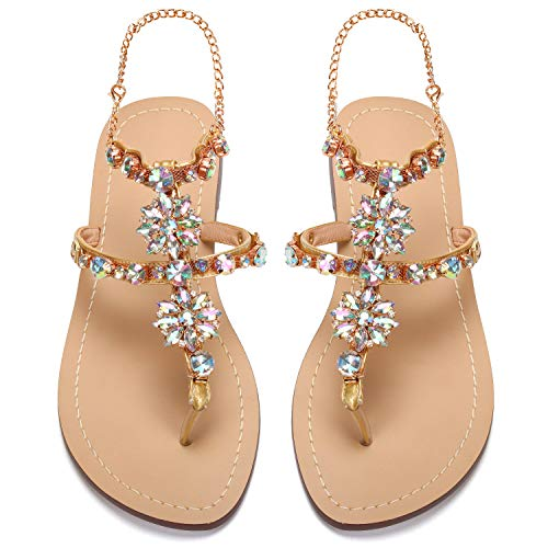 2017 Women Rhinestones Chains Flat Sandals Plus Size 1625 (US 9.5-10 / EU 41 / CN 42, ()