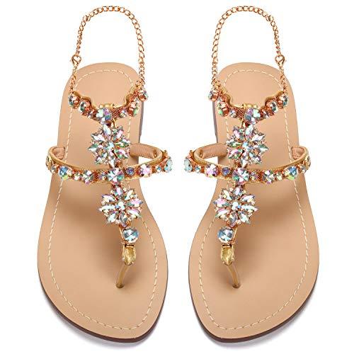 2017 Women Rhinestones Chains Flat Sandals Plus Size 1625 (US 8.5 / EU 39 / CN 40, - Jewel Orange
