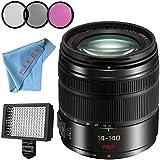 Panasonic Lumix G Vario 14-140mm f/3.5-5.6 ASPH. POWER O.I.S. Lens (Black) + 58mm 3 Piece Filter Kit + Professional 160 LED Video Light Studio Series + Fibercloth Bundle