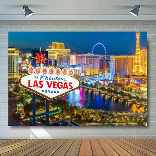 COMOPHOTO Las Vegas Night Photography Backdrop City Street Sign Party Decoration Background for Pictures 7x5ft Vinyl Printing Photo Backdrop