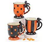 Set of 3 Boo-tiful Halloween/Autumn 15 oz Coffee Mugs with Stripes and Polka Dots