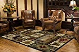 Universal Rugs Northern Wildlife Novelty Lodge Pattern Multi-Color Rectangle Area Rug, 5' x 8'