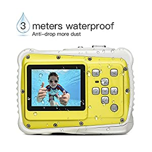 Kids Camera, 12MP HD Waterproof Camcorders with 2 Inch LCD 4x Optical Zoom and Mic Outdoor 3M Underwater for Girls/Boys with 8G SD card (Yellow/Black)