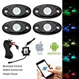 PROAUTO Super Bright LED Glow Waterproof 4 Pods Lights RGB Rock Light Kits Multicolor Neon LED Light Kit with Bluetooth Controller for Jeep SUV all Vechicle Car Accessory for Off Road Turck Car ATV