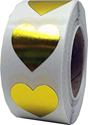 """Metallic Gold Heart Stickers - 3/4"""" Inch - 500 Total Heart Shape Foil Adhesive Labels"""