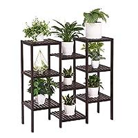 SONGMICS Bamboo Customizable Plant Stand Shelf 9-Tier Flower Pots Holder Display Rack Utility Shelf Bathroom Rack Storage Rack Shelving Unit