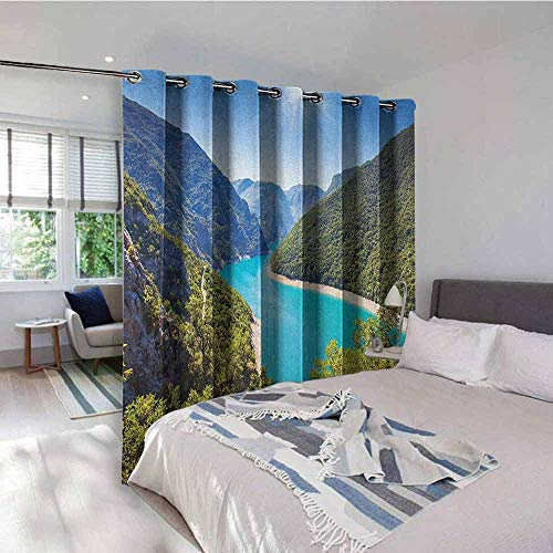 UNOSEKS LANZON European Gromets Curtain Extra Long, The Piva Canyon with Reservoir Montenegro Balkans Europe Sunlights Sliding Darkening Curtains, Aqua Sky Blue Forest Green, W84 x L84 Inches