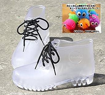 3d18ce6e98f99 Amazon.co.jp: (バニラクリーム)Vanilla cream クリア レインブーツ 透明 長靴 オリジナルストラップ同梱 (23cm)   ホビー