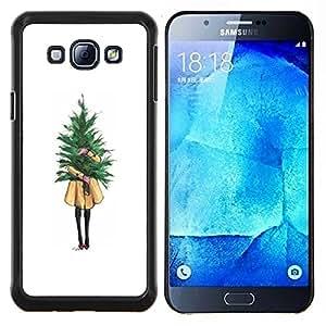 YiPhone /// Prima de resorte delgada de la cubierta del caso de Shell Armor - Chica Significado minimalista Navidad - Samsung Galaxy A8 A8000
