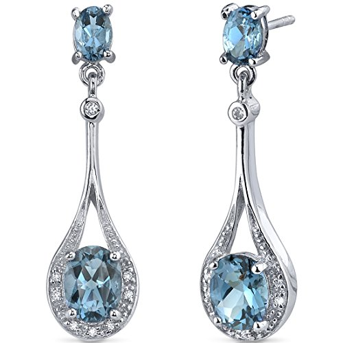 London Blue Topaz Dangle Earrings Sterling Silver 4.00 Carats