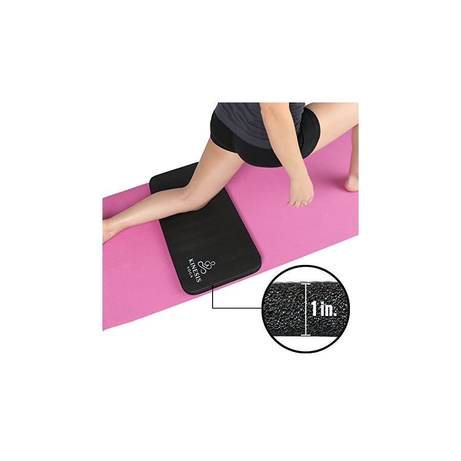 Kinesis Yoga Knee Pad Cushion Extra Thick 1 inch (25mm) for Pain Free Yoga! Fits Standard Full Sized Yoga Mat and Comes with Velcro for Easy Travel and Storage!