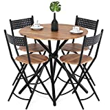 Dark Wood Coffee Table Sets Homury 5pcs Dining Table Set Kitchen Table Kitchen Furniture Round Dining Table with 4 Round Dining Chair Dining Set Wood Coffee Table Set Home Office Table Set