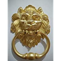 BorizDoorz Lion Door Knocker Lion Head Beautiful Lion Mouth Accessories Gate Antique Gold Brushed Brass
