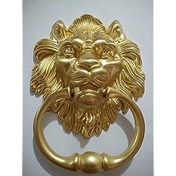 Lion Door Knocker Lion Head Beautiful Lion Mouth Accessories Gate Antique gold