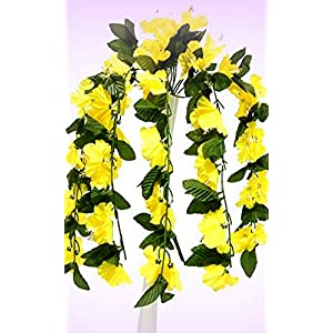"Inna-Wholesale Art Crafts New 26"" Hibiscus Yellow Hanging Bush Silk Decorating Flowers Bouquets Centerpieces - Perfect for Any Wedding, Special Occasion or Home Office D?cor 55"