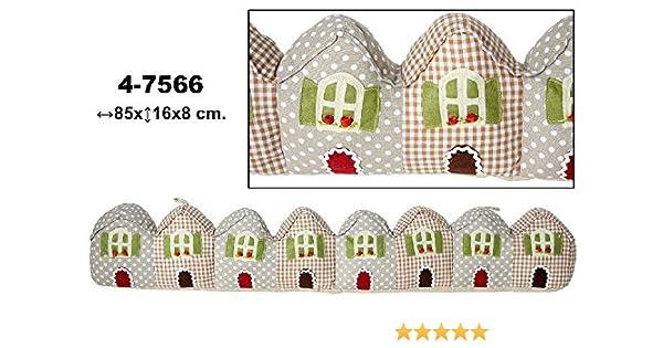 DONREGALOWEB Burlete - Cojín Cortavientos de Textil Decorado con Casas y con múltiples Colores