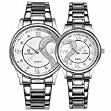 Fq-102 Valentines Stainless Steel Romantic His and Hers Pair Wrist Watches for Man Woman Silvery White Set of 2