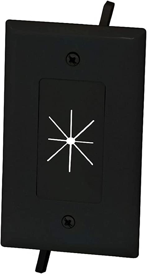 Amazon Com Monoprice Cable Plate With Flexible Opening 1 Gang Black 112587 Computers Accessories