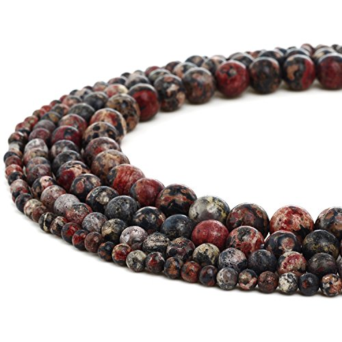 RUBYCA Natural Red Leopard Jasper Gemstone Round Loose Beads for Jewelry Making (Fire Onyx 1 Light)
