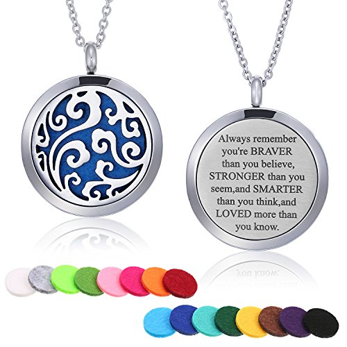 Mtlee Aromatherapy Essential Oil Diffuser Necklace Locket Pendant Stainless Steel Perfume Necklace with 16 Refill Pads and 24 Inch Adjustable Chain (Cloud)