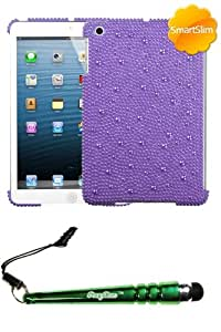 FoxyCase(TM) FREE stylus AND APPLE iPad Mini Baby Purple Pearl Full Diamond Bling SmartSlim Back Protector Cover cas couverture