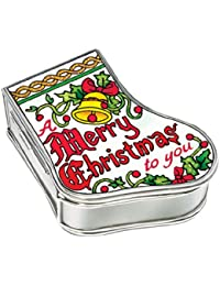 Amia Baby Handpainted Glass Jesus Manger Stocking Jewelry Box, 3-1/4-Inch by 2-3/4-Inch by 1-1/4-Inch