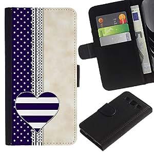 UberTech / Samsung Galaxy S3 III I9300 / Heart Notebook Blue Beige White / Cuero PU Delgado caso Billetera cubierta Shell Armor Funda Case Cover Wallet Credit Card