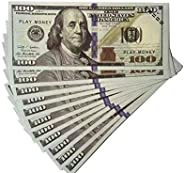 Akexue Prop Money Imitate Currency,100 pcs 100 Dollar Bills Stack,Copy Money for Movies,Videos,Fun,Teaching and Birthday Part