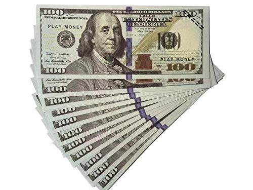 Akexue Prop Money Imitate Currency,100 pcs 100 Dollar Bills Stack,Copy Money for Movies,Videos,Fun,Teaching and Birthday Party