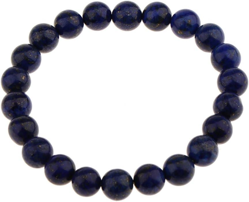 F Fityle Pulsera del Estiramiento De La Joyería Moldeada De Las Gotas De La Piedra Preciosa del Lapislázuli De 8mm para Hombre De Las Mujeres