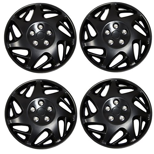 Wagon Elantra 2010 Hyundai - Tuningpros WC3-15-2007J-B - Pack of 4 Hubcaps - 15-Inches Style 2007J Snap-On (Pop-On) Type Matte Black Wheel Covers Hub-caps