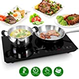 Double Induction Cooktop - Portable 120V Portable Digital Ceramic Dual Burner w/ Kids Safety Lock - Works with Flat Cast Iron Pan