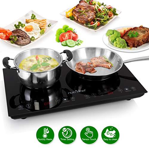 (Double Induction Cooktop - Portable 120V Portable Digital Ceramic Dual Burner w/ Kids Safety Lock - Works with Flat Cast Iron Pan,1800 Watt,Touch Sensor Control, 12 Controls - NutriChef PKSTIND48)
