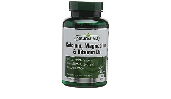 Calcium Magnesium and Vitamin D3 Food Supplement (90 Capsules) - Natures Aid: Amazon.es: Salud y cuidado personal