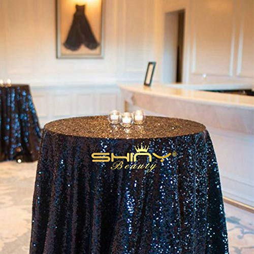 (ShinyBeauty Sequin Tablecloth-Black-60Inch Round Sparkly Glitz Fabric Wedding Table Cloth Wholesale)