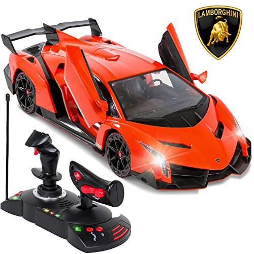 Best Choice Products 1/14 Scale Remote Control Luxury Car Lamborghini Veneno Toy for Kids w/ Gravity Sensor, Engine Sounds, Head and Rear Lights, Opening Door - ()