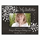 Gift for Godfather from Godchild Personalized Godparents Photo frame holds 4x6 photo Giving Love Growing Faith Guiding by Example (4x6, Black)
