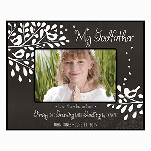 Gift for Godfather from Godchild Personalized Godparents Photo frame holds 4x6 photo Giving Love Growing Faith Guiding by Example (4x6, Black) by LifeSong Milestones