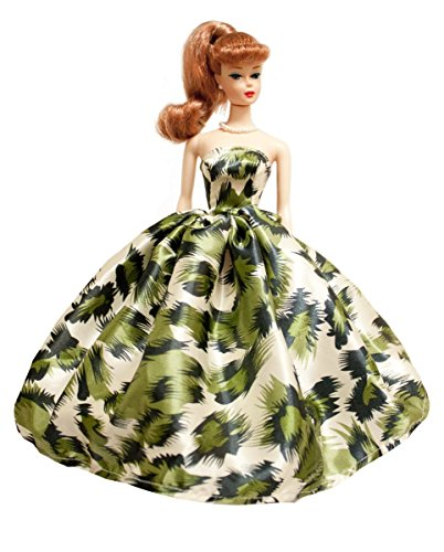 Peregrine Green Print Silk Prom Dress for 11.5 inches Dolls