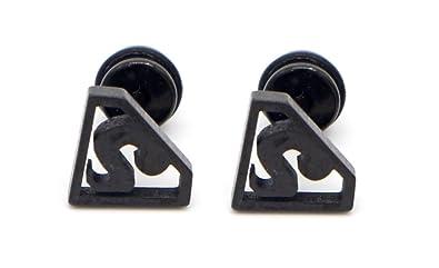 Amazon Com Black Stud Earrings For Men Superman Mens Stud Earring